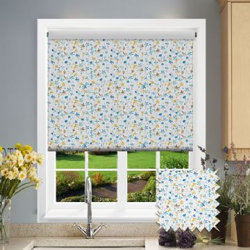 Blue Flower Watercolour Patterned Roller Blind in Flossie Blue